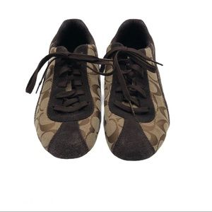 Coach Brown lace up Monogram Sneakers Size 9.5